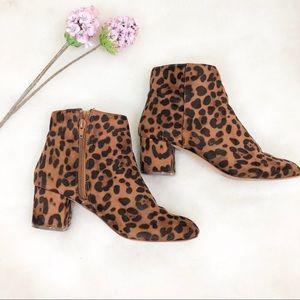 Leopard zip up booties